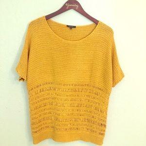 Lafayette 148 nyc marigold open weave top med EUC